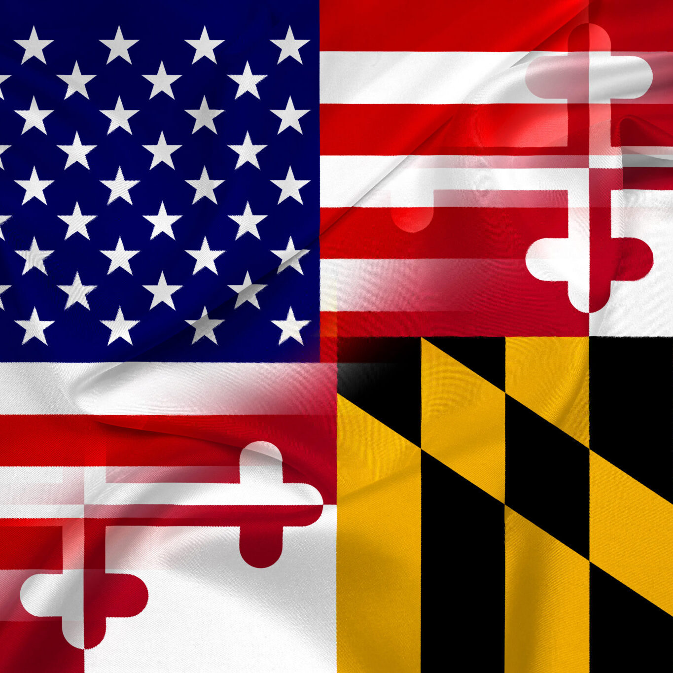 Waving USA and Maryland State Flag